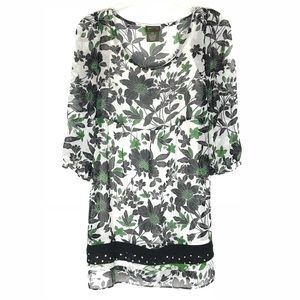 Anthropologie Fei Sheer Floral Shell Dress Size S